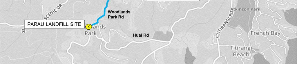 Assessment of Transport Effects Figure 4-11: Alternative Landfill Site a. Parau route overview The route is along Woodlands Park Road through the Woodlands Park village and then along Huia Road.
