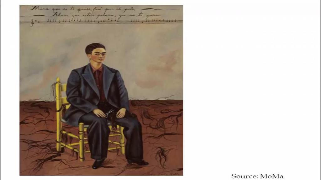 which conventional gender stereotypes work within patriarchal society; stereotypes in which the man is always the master and the woman is at best a dilettante. Now, Frida Kahlo has a painting.