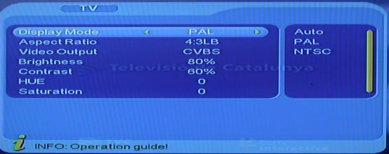 4.3.2 TV TV setup provides convenient TV input mode, you can via menu ( MENU->Digita TV->Configuration -> TV) enter TV set, as shown in below All options are listed on the left of the menu, when the