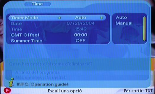 4.3.4 Time Via menu ( MENU->Digita TV->Configuration -> Time), entertimeset, as shown in below: In Time menu, there are two time modes, one is Auto