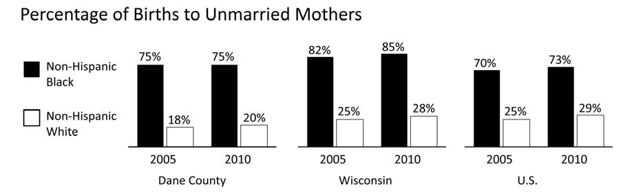 FAMILY FORMATION BIRTHS TO UNMARRIED MOTHERS Comparative Rates Year INDICATOR Dane County WI U.S. 2010 % of non-hispanic Black births that are to unmarried mothers 74.9% 84.8% 72.