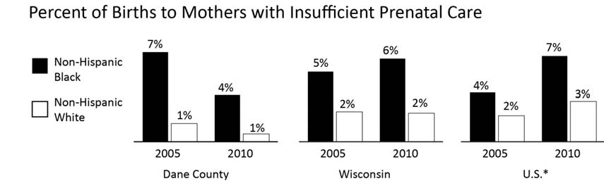 HEALTH BIRTHS TO MOTHERS WITHOUT SUFFICIENT PRENATAL CARE Comparative Rates Year INDICATOR Dane County WI U.S. 2010 % of non-hispanic Black births that are to mothers with 3.6% 6.4% 6.