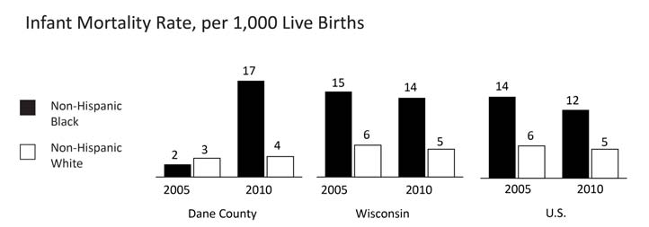 HEALTH INFANT MORTALITY Comparative Rates Year INDICATOR Dane County WI U.S. 2010 Non-Hispanic Black infant mortality, per 1,000 live births 16.9 13.9 12.