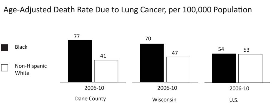18 HEALTH DEATH RATE DUE TO LUNG CANCER Comparative Rates Year INDICATOR Dane County Wisconsin U.S. 2006-10 Black age-adjusted death rate from lung cancer, per 100,000 population 77.1 70.4 53.
