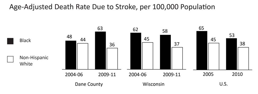 20 HEALTH DEATH RATE DUE TO CARDIOVASCULAR DISEASE (STROKE) Comparative Rates Year INDICATOR Dane County Wisconsin U.S. 2009-11 Black age-adjusted death rate from stroke, per 100,000 population 63.