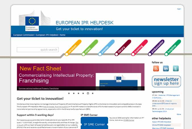Horizon 2020 - A Guide to IP Management The European IPR Helpdesk The European IPR Helpdesk is the official IP service initiative of the European Commission providing free-of-charge, professional