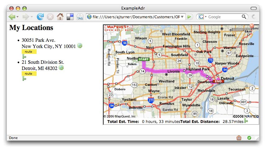 Figure 3: Browser extensions like GreaseRoute can detect addresses or coordinates in a web page and display additional information such as a map or driving directions Syndicating locations While it
