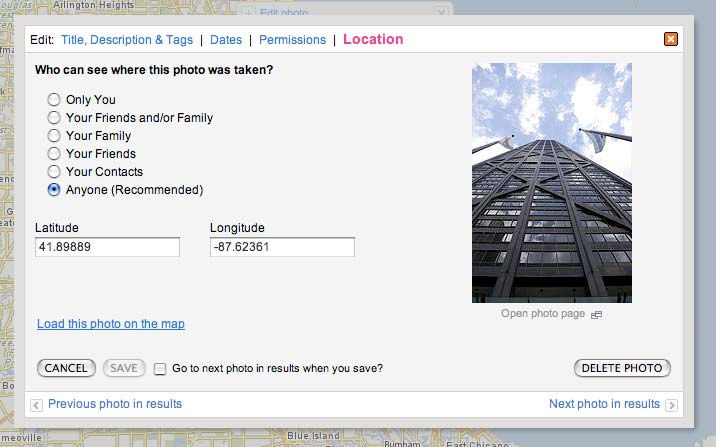Figure 6: Flickr allows you to directly enter geographic coordinates for photographs These coordinates can come from a GPS receiver if you carried one with you, or you can use another geocoder to