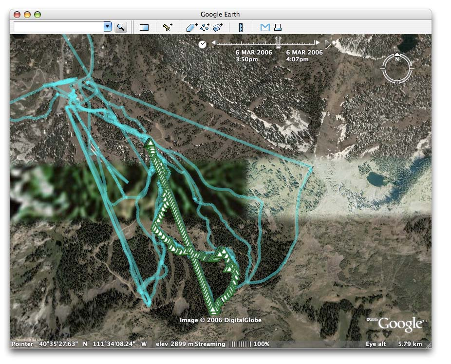 Figure 9: Google Earth supports time in KML files from GPS tracks for visualizing your sports, such as skiing or hiking There are other sites such as Motion Based (http://www.motionbased.