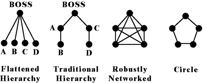 182 Power to the Edge topology. Networks (nodes and links) with different characteristics correspond to different organizational structures that inherit the characteristics of the network.