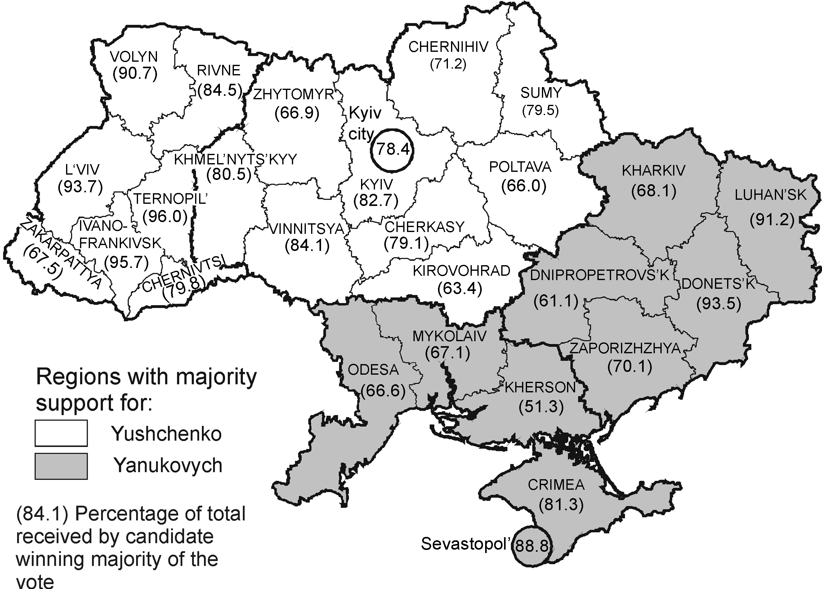ANDERS ÅSLUND 331 Fig 1. Maps showing regions in which Yushchenko and Yanukovych won majority of the vote in the December 26, 2004 second runoff election.