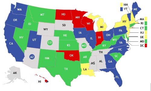 Figure 7-1. Status of Commercial-building Energy Codes, by State Source: (BCAP 2007). Building codes are administered by 50 states and thousands of local authorities.