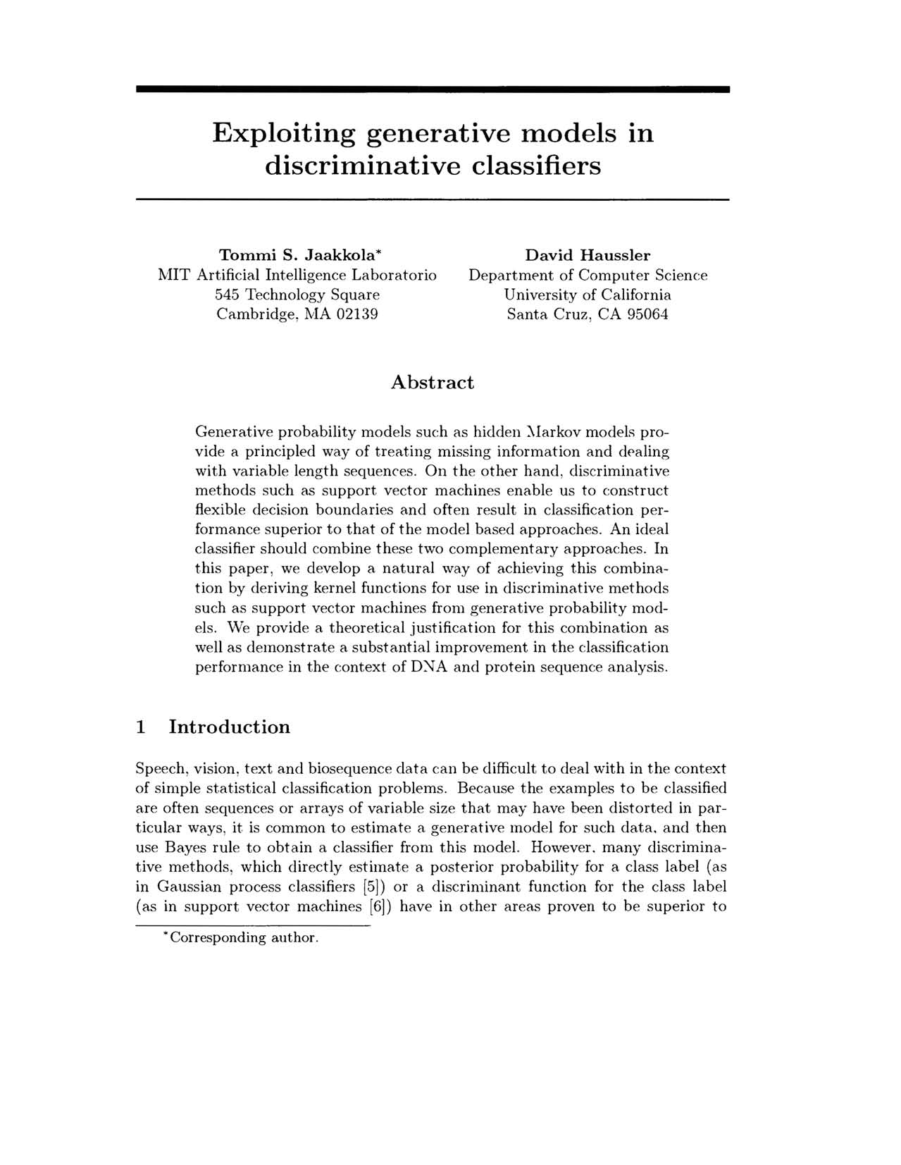 Exploiting generative models discriminative classifiers In Tommi S.