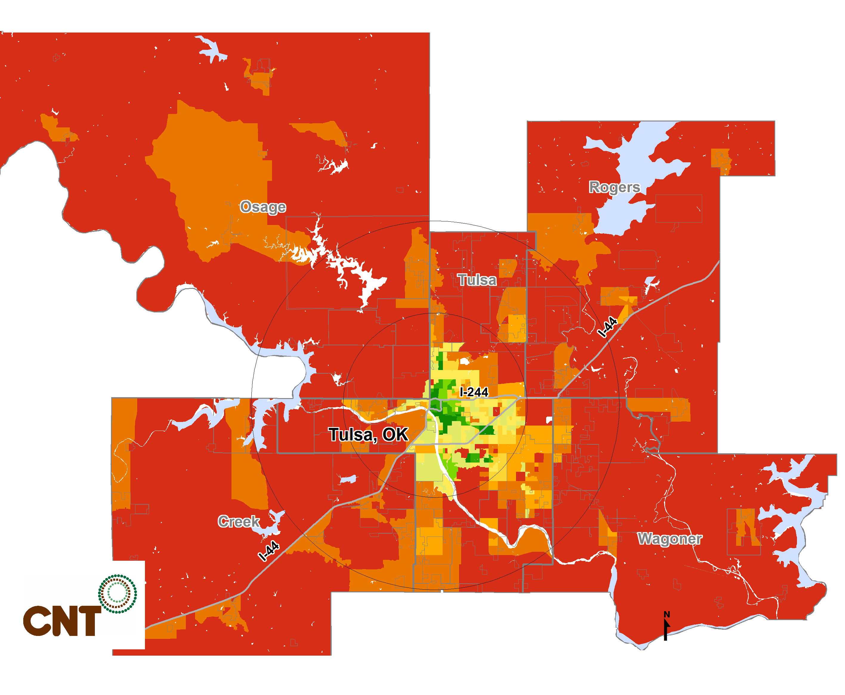 METROPOLITAN TRANSIT ACCESS CASE STUDIES Tulsa, Oklahoma in 2015 As this map shows, the share of the population likely to see mobility options shrink with time grows rapidly across metro Tulsa, as