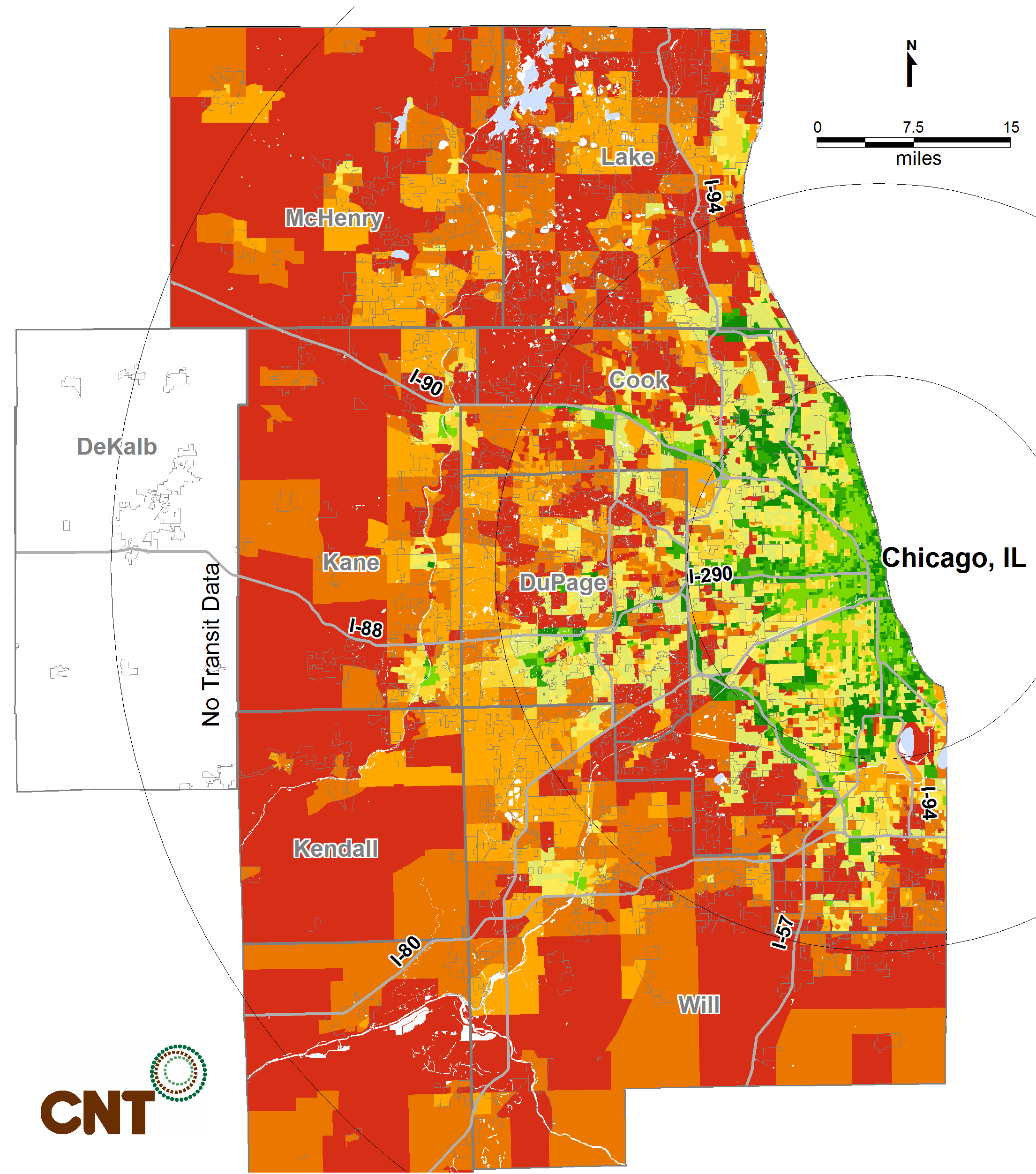 METROPOLITAN TRANSIT ACCESS CASE STUDIES Chicago, Illinois in 2015 By 2015, 6 percent of urban seniors age 65-79 are projected to have poor transit access, while the percentage of suburban and