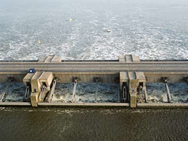 Sluice gates in the Haringvliet Dam.