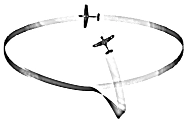 13.11 Low yo-yo Fig 35. Low Yo-Yo. The low yo-yo is another out-of-plane manoeuvre which uses a gravity assist to cut across a stagnant flat-circle fight.