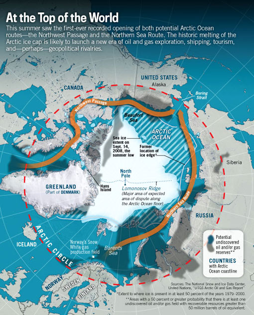 Figure 3. Arctic Sea Ice Extent in September 2008, Compared with Prospective Shipping Routes and Oil and Gas Resources Source: Graphic by Stephen Rountree at U.S. News and World Report, http://www.