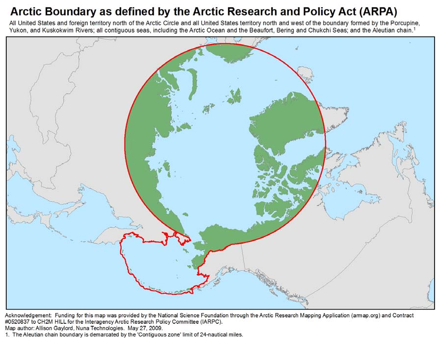 Figure 2. Entire Arctic Area as Defined by ARPA Source: U.S. Arctic Research Commission (http://www.arctic.gov/maps/arpa_polar_150dpi.jpg, accessed on December 23, 2011).