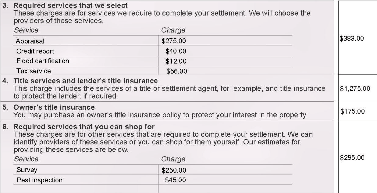 Your Charges for All Other Settlement Services, Blocks 3 through 11 In addition to the charges to originate your loan, there are other charges for services that will be required to get your mortgage.