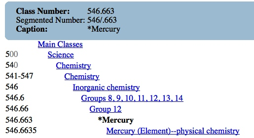 Screen captured from OCLC Connexion WebDewey for classes related to mercury (as an element) It should be noted that although the relationships are similar to what is presented in other thesauri