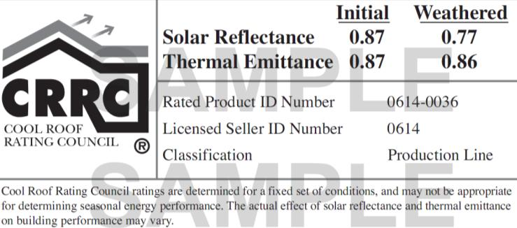 0.25 initial, 0.15 aged) and does not consider thermal emittance. To satisfy local building codes or to meet rebate program requirements, be sure to find and use the appropriate cool roof definition.