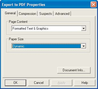 Section Five: Creating Accessible PDF Documents from Scanned Documents 46 The General tab in the Export To PDF Properties dialog box 5 Right-click the Tag Adobe PDF agent in the workflow, and then