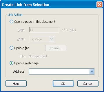 Section Seven: Optimizing the Accessibility of Tagged PDF Documents 59 The Create Link from Selection dialog box 5 Identify the type of link you want, and then enter the appropriate details.