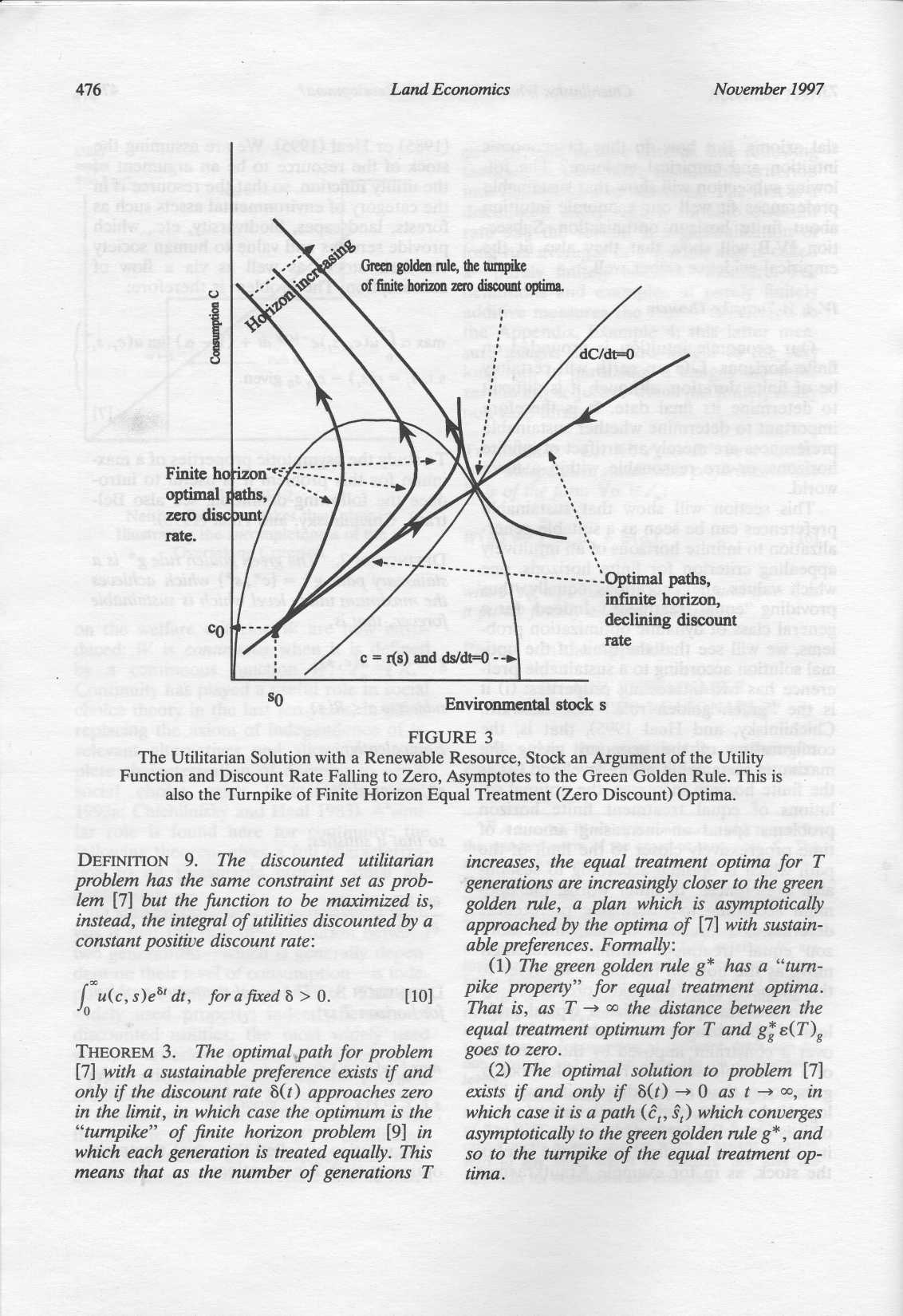 476 LandEconomics November 1997 -------------Optimal paths, infinite horizon, declining discount rate SO Environmental stock s FIGURE 3 The Utilitarian Solution with a Renewable Resource, Stock an