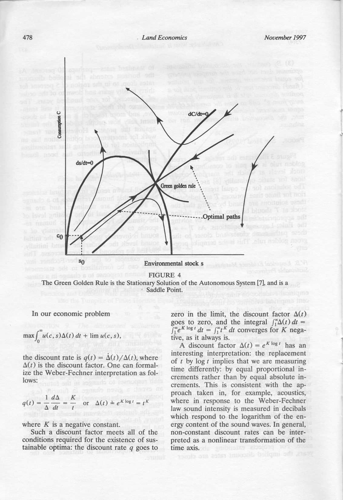 478 Land Economics November 1997 SO Environmental stock s FIGURE 4 The Green Golden Rule is the Stationary Solution of the Autonomous System [7], and is a Saddle Point.