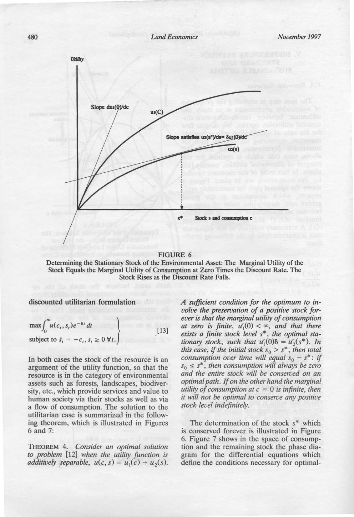480 Land Economics November 1997 FIGURE 6 Determining the Stationary Stock of the Environmental Asset : The Marginal Utility of the Stock Equals the Marginal Utility of Consumption at Zero Times the