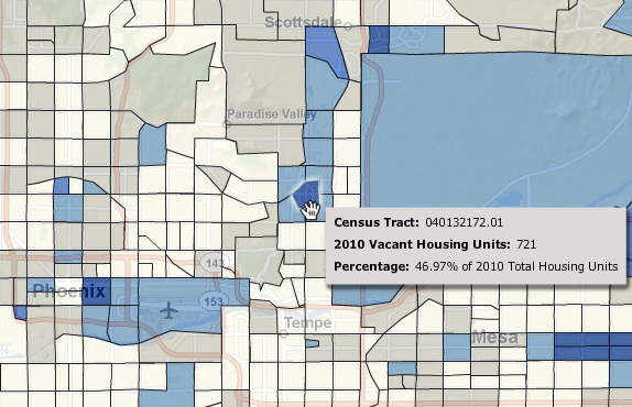 Some census tracts in Maricopa County have vacancy rates in excess of 55 percent. Overall, 13.9 percent of housing units in this county are vacant, campared to 11.4 percent nationally.