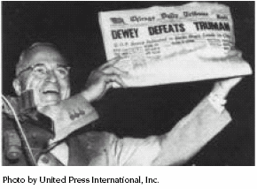 What is a Survey By Fritz Scheuren Harry Truman displays a copy of the Chicago Daily Tribune newspaper that erroneously reported the election of