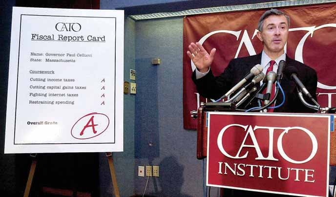 Nongovernmental organizations and institutions that influence public policy The then-governor of Massachusetts Paul Cellucci addresses members of the Cato Institute, a Washington, D.C. think tank, 2001.