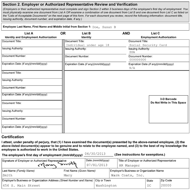 1 2 3 4 5 Figure 4: Completing Section 2 of Form I-9 for Minors without List B Documents 1 Enter the employee s name from Section 1 at the top of Section 2.
