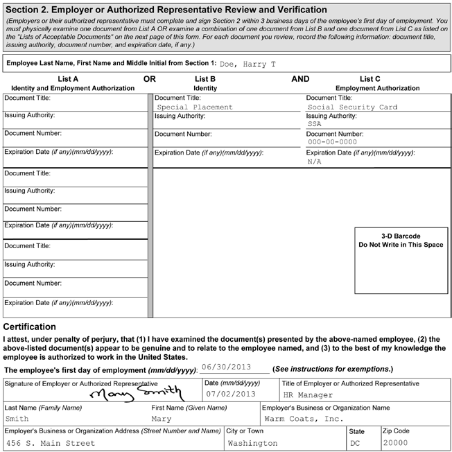 1 2 3 4 5 Figure 6: Completing Section 2 of Form I-9 for Employees with Disabilities (Special Placement) 1 Enter the employee s name from Section 1 at the top of Section 2.