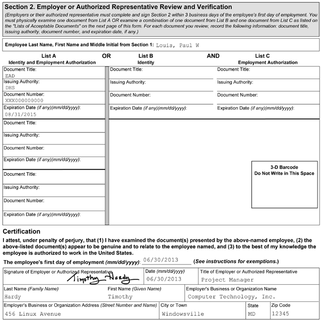 1 2 3 4 5 Figure 10: Completing Section 2 of Form I-9 for F-1 Nonimmigrant Students with OPT 1 Enter the student s name from Section 1 at the top of Section 2.