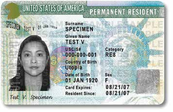 Permanent Resident Card, also known as the Green Card, which is now green in keeping with its long-standing nickname.