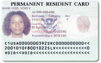 This most recent older version of the Permanent Resident Card shows the DHS seal and contains a detailed hologram on the front of the card.