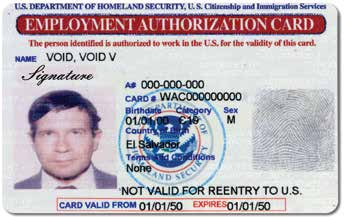 Temporary I-551 printed notation on a machine-readable immigrant visa (MRIV) Employment Authorization