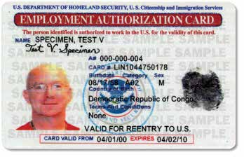 granted temporary employment authorization in the United States.