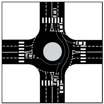 leaving. Be alert for drivers next to you who may cross into other lanes as they turn. (See Figure 3-3.