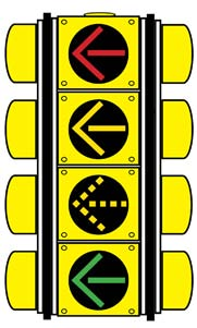 conflicting traffic is stopped. When the green light is lit, turning drivers may complete their turn when oncoming traffic has cleared.