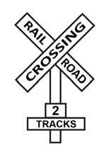 vehicles must stop no more than 50 feet or less than 15 feet from the tracks. Trains overhang the tracks by at least three feet on each side.