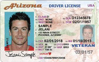 Motor Vehicle Division Veteran Designation A Veteran Designation on an Arizona driver license, instruction permit or identification card is available to U.S.