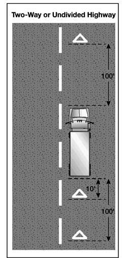 If you stop on a two-lane road carrying traffic in both directions or on an undivided highway, place warning devices within 10 feet of the front or rear corners to mark the location of the vehicle