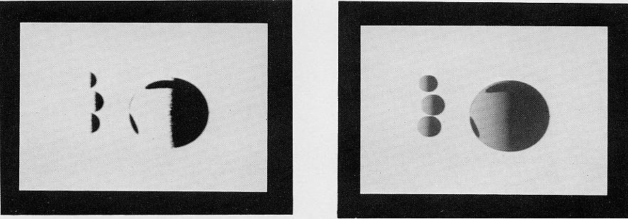 fig. 1 The observer ' s view of four spheres. fig. 2 The four spheres viewed from the light source. position of the fig.