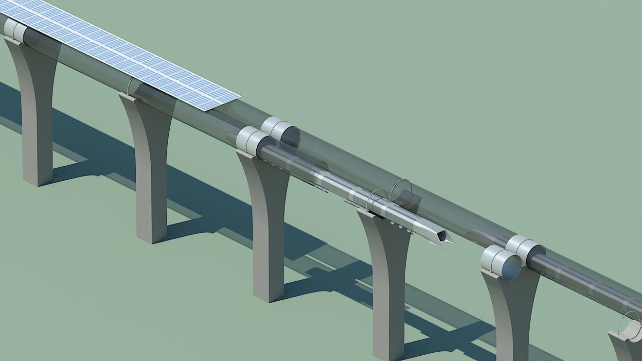 Figure 14. Hyperloop capsule in tube cutaway with attached solar arrays. Passenger Hyperloop Tube The inner diameter of the tube is optimized to be 7 ft 4 in. (2.