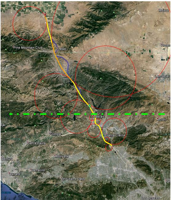 4.4.1.1. Los Angeles/Grapevine - South Visualization - Route - The preliminary route is shown in yellow. Bend radii are shown in red.
