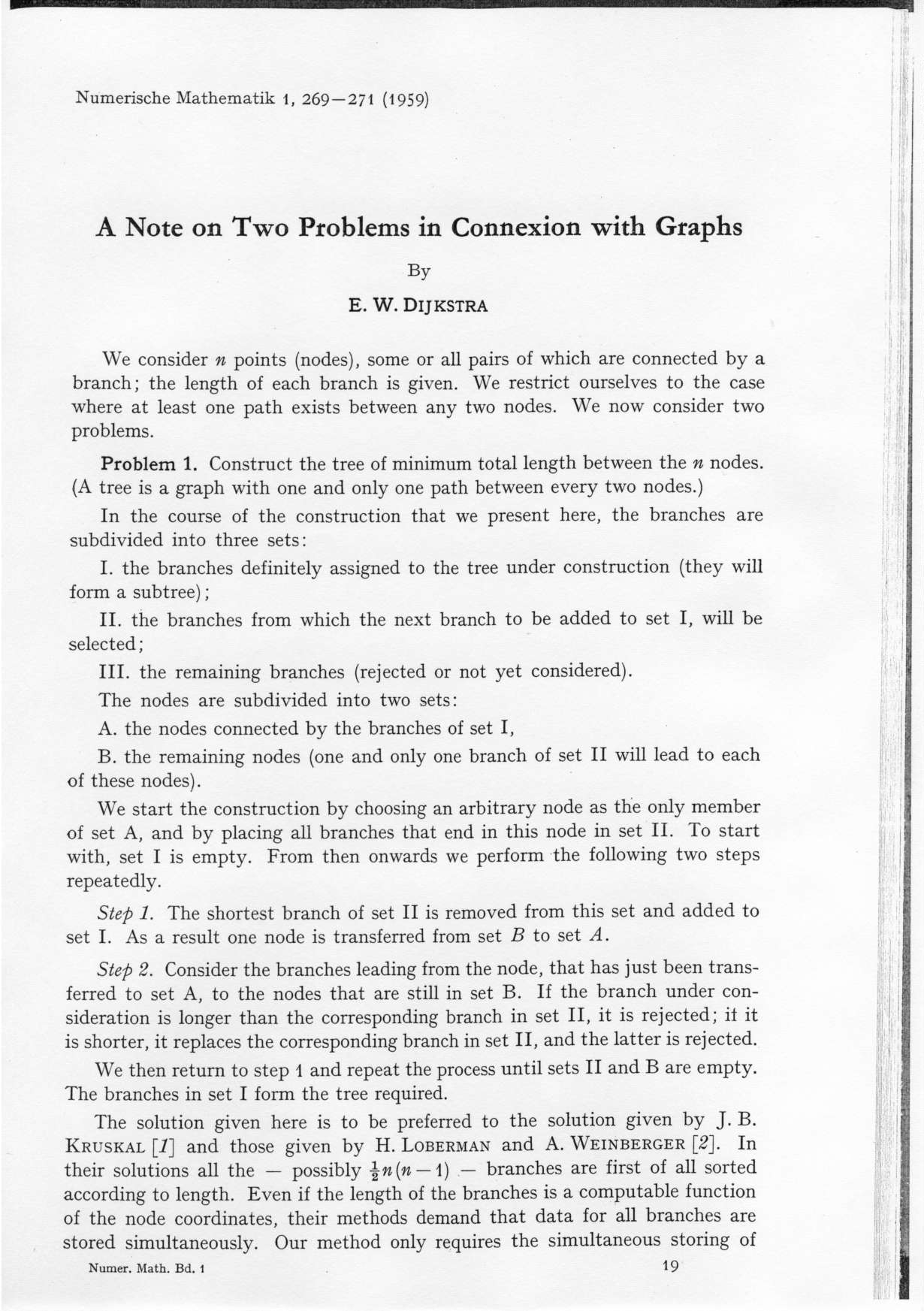 Numerische Mathematlk l, 269-27 I (l 959) A Note on Two Problems in Connexion with Graphs by E. W.
